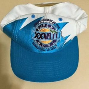 93c5a93a Vintage Superbowl 28 Sharktooth Snapback Hat